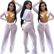 Candy Color Transparent Hooded Crop Top High Waist Wide-leg Pants Two Pieces Set