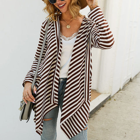 Irregular Open Front Stripes Cardigan