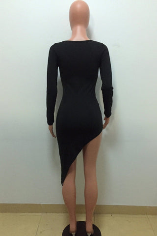 Cut Out Long Sleeves Irregular Short Little Black Dress