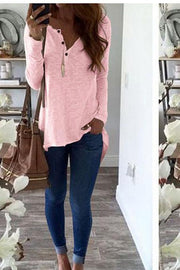 V-neck Buttons Pure Color Long Sleeves Irregular Blouse
