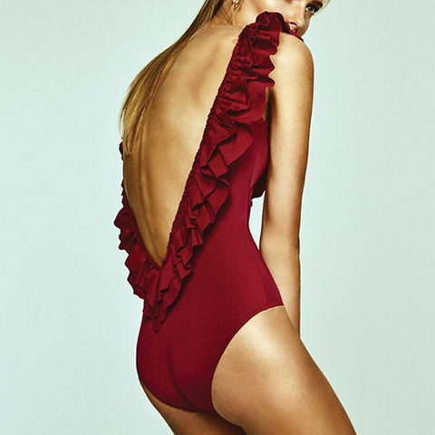 Backless Pure Color Sleeveless Scoop Ruffle One Piece Swimwear
