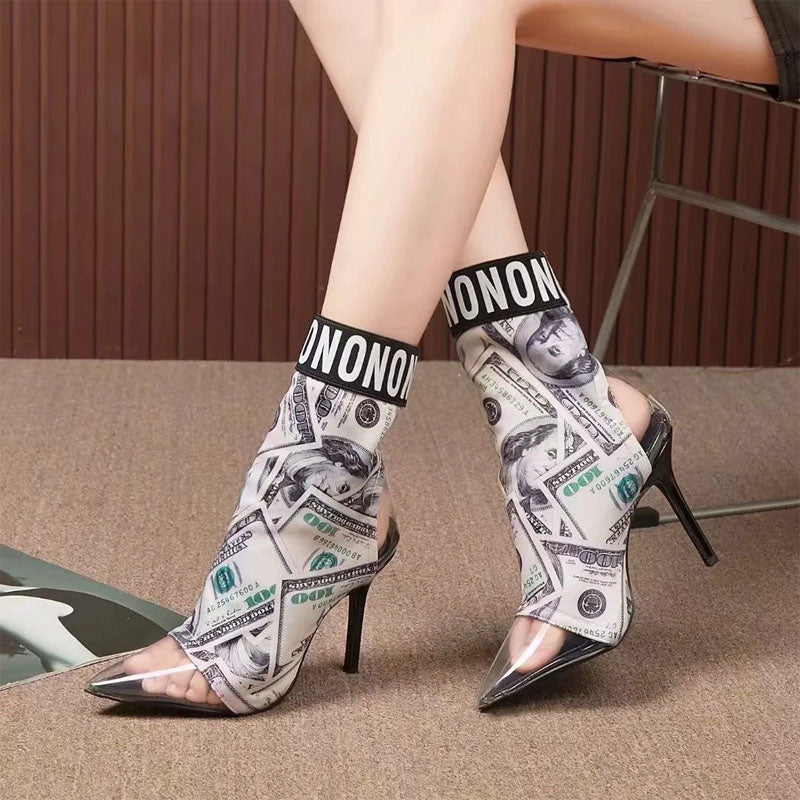 Fashion Dollar Letter Print Clear Toe Calf Boots