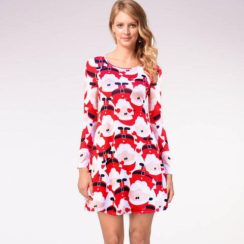 Christmas Cartoon Print A Line Dress
