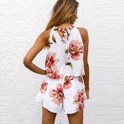 Flower Print Bear Shoulder Crop Top with High Waist Shorts Loose Two Pieces Set