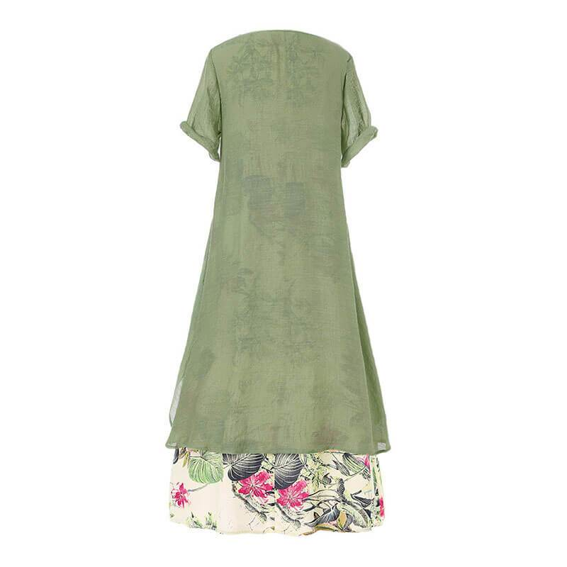 Vintage Short Sleeve Floral Large Hem Long Dress