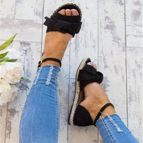 Weave Bowknot Peep Toe Ankle Strap Women Flat Sandals