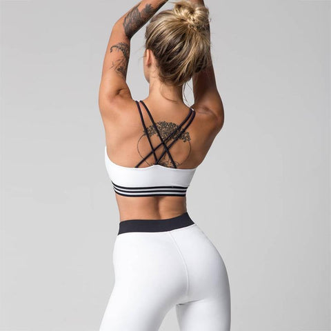 Patchwork Straps Cami Top with High Waist Skinny Long Pants Two Pieces Sports Set