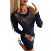 Rhinestone See Through Knit Bodycon Dress