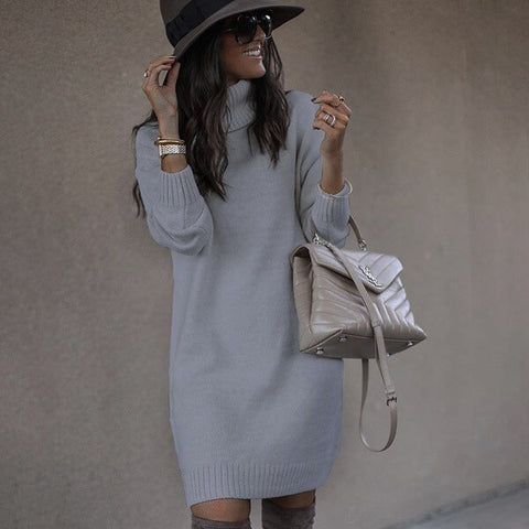 Turtleneck Pure Color Long Sweater Dress