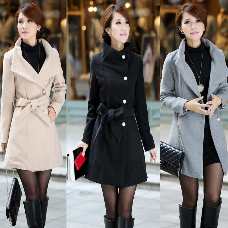 Turn-down Collar OL Style Slim Wool Long Coat With Belt