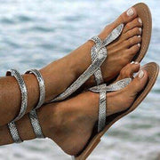 Serpentine Thong Pure Color Flat PU Ankle Strap Women Beach Sandals with Plus Size