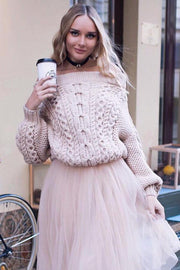Off Shoulder Cable Loose Lantern Sleeves Knitwear Sweater