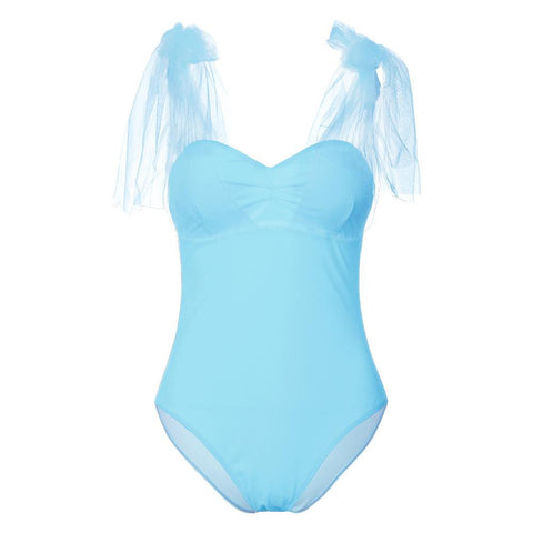 Tulle Bowknot Slim Solid Color One Piece Swimwear