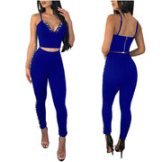 Beadings Spaghetti Straps Crop Top Long High Waist Skinny Two Pieces Outfits