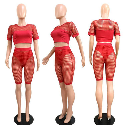 Transparent Mesh Crop Top Briefs Transparnet Shorts Three Pieces Set