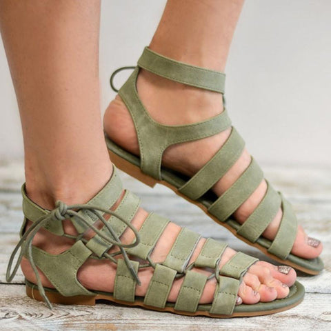 Lace-up Straps Pure Color Open-toe Women Flat Sandals with Plus Size