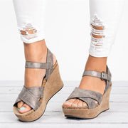 Roman Open Toe Platform Ankle Wrap Wedge Women Sandals