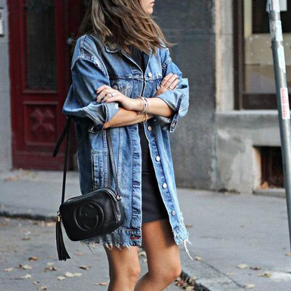Cut Holes Pockets Women Oversized Long Denim Jacket Coat