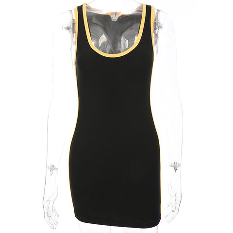 Slim U-shape Neck Sleeveless Patchwork Short Sports Dress