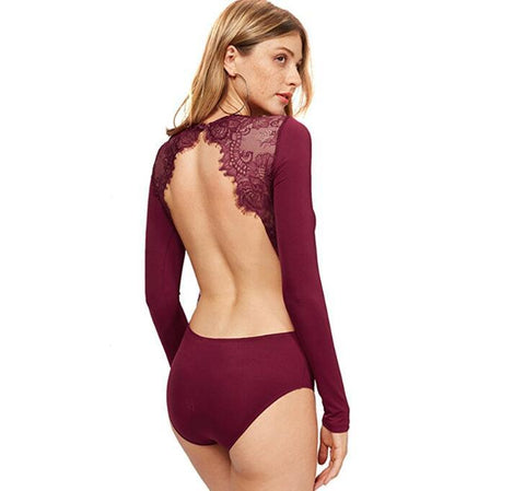 Lace Long Sleeves Backless Bodysuits