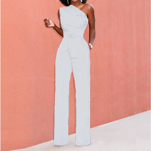 One Shoulder Candy Color Jumpsuit
