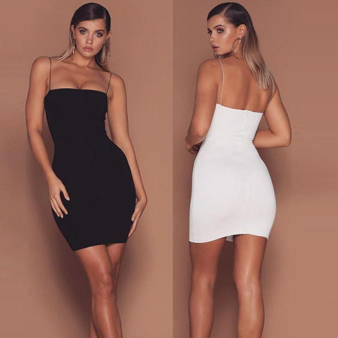 Backless Pure Color Sleeveless Spaghetti Straps Short Club Dress