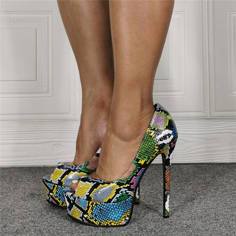 Party Snakeskin PU Platform Peep Toe High Heel Sandals
