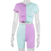 Sexy Color Block Short Sleeve Bodycon Two Pieces Set
