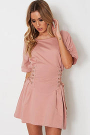 Pure Color Scoop Half Sleeves Side Lace Up Short Dress
