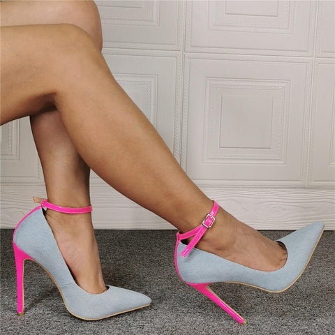 Light Blue Denim Point Toe Buckle High Heels