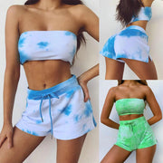 Sexy Tie dye Strap Strapless Two Pieces Set