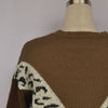 Crewneck Colorblock Leopard Knitted Sweater