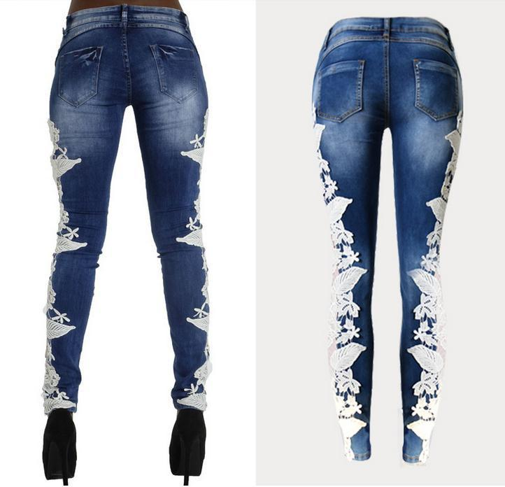 Lace Patchwork Hollow Skinny Straight High Waist Jeans - Meet Yours Fashion - 5