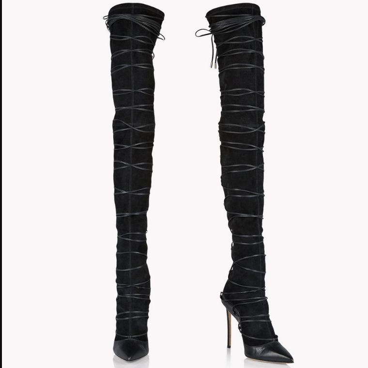 Black Lace Up Suede Pointed Toe Thigh High Boots