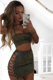 Straps Halter Backless Crop Top with Hollow Out Short Skirt Two Piece Set