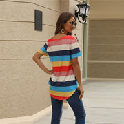 Casual Stripes Color Block Loose Short Sleeve T-shirts