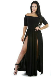 Off-Shoulder-Split-Half-Sleeves-Backless-Long-Dress