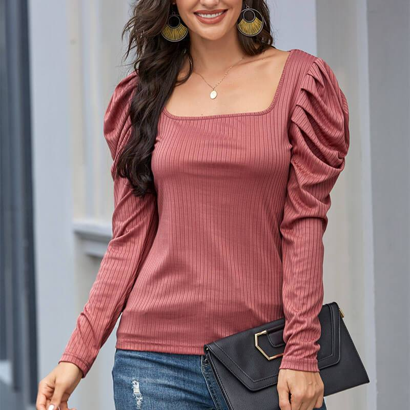Slim Puff Sleeve Square Neck Top