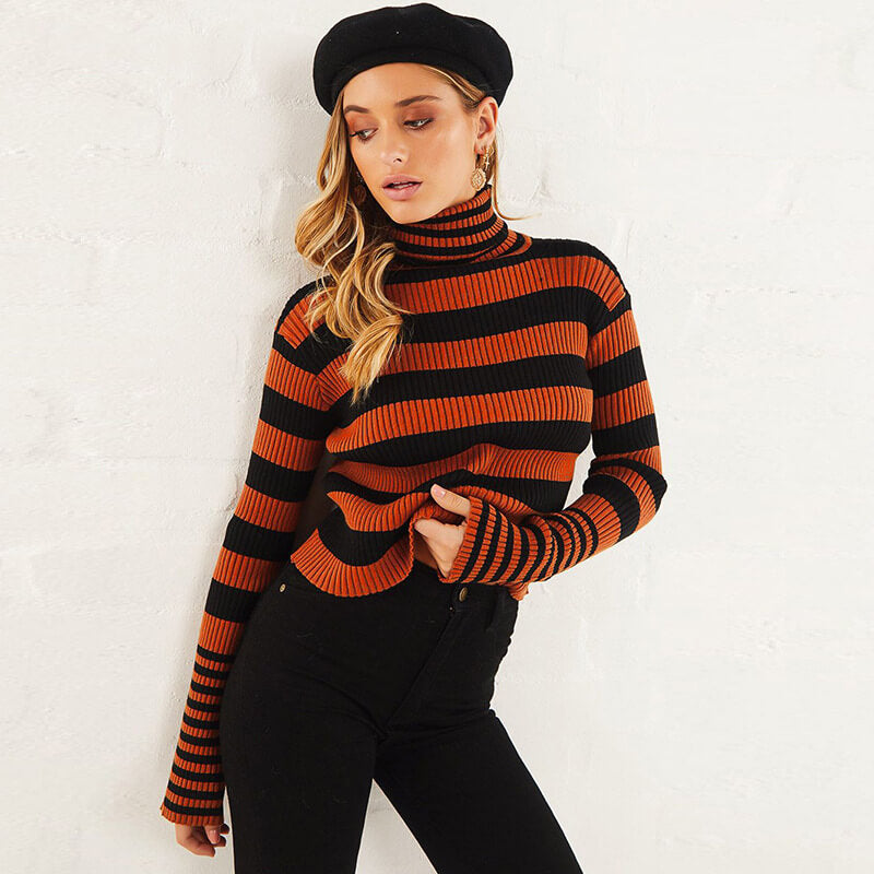 Turtleneck Striped Long Sleeve Pullover Sweater