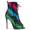 Party Color Block Sequin Strap Cutout High Heel Sandals