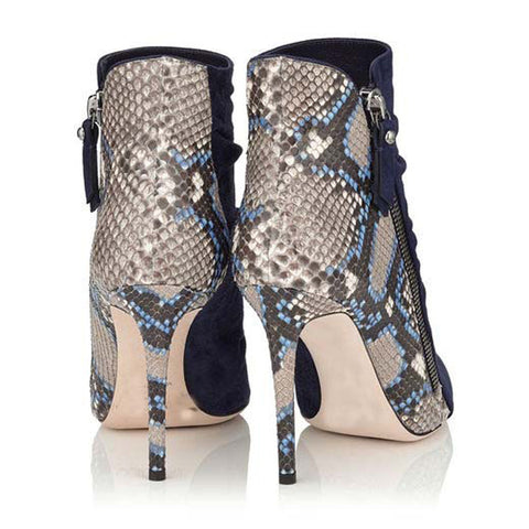 Snakeskin Zipper Pointed Toe High Heel Ankle Boots