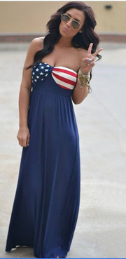 Strapless American Flag Print Long Dress - Shoes-Party - 1