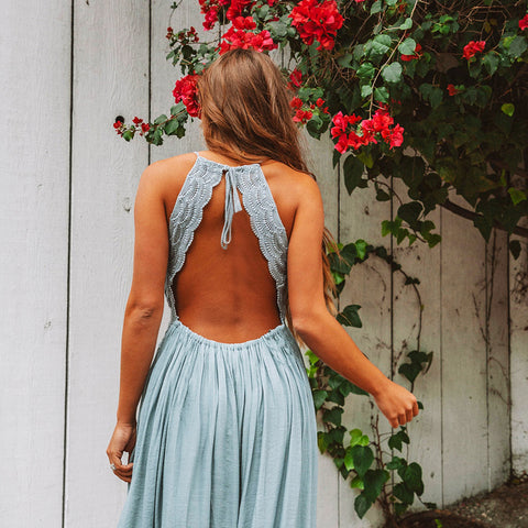 Spaghetti Straps V-neck High Waist Lace Patchwork Open Back Women Long Dress