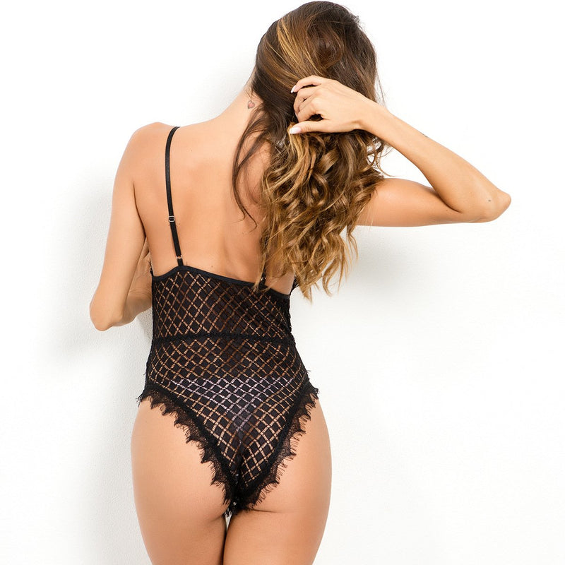Transparent Lace Spaghetti Straps Short Jumpsuits