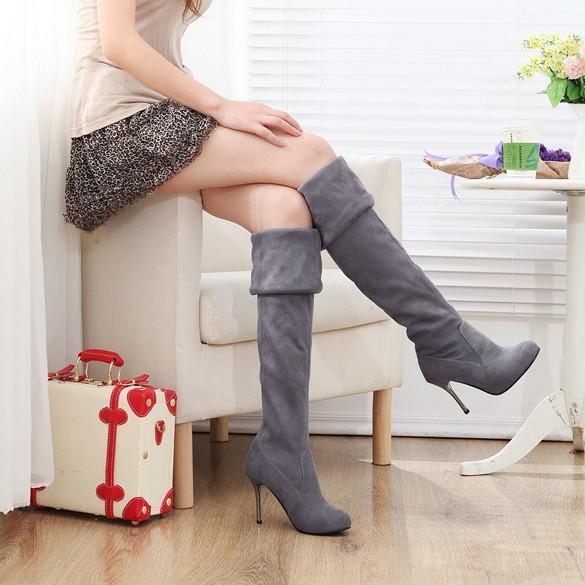 Women's Elegant Suede Over the Knee Thigh Stretchy High Heels Boot Shoes