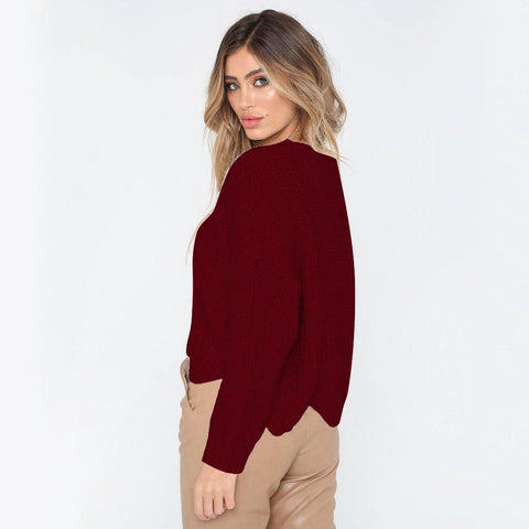 Round Neck Solid Color Irregular Loose Women's Sweater
