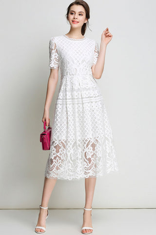 Pure Color A-line Long Lace Dress