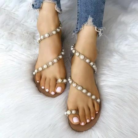 Pearl Thong Pure Color Flat Women Beach Sandals