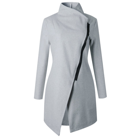 Stand Collar Oblique Zipper Women Irregular Oversized Coat