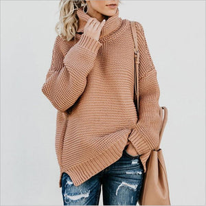 High Neck Loose Batwing Sleeves Solid Color Long Sweater